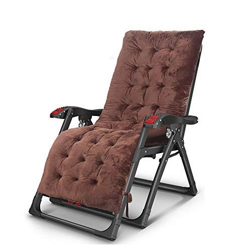 FUFU Tumbonas Jardin Exterior Silla de gravedad cero de gran tamaño, reclinable del césped, silla reclinable de la tumbona, tapa portátil plegable, con cojín suave desmontable, soporte de taza, ajusta