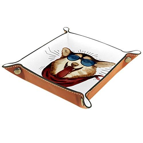 AITAI Bandeja de valet de piel vegana organizador de mesita de noche para escritorio, plato de almacenamiento de perro con gafas de sol 01