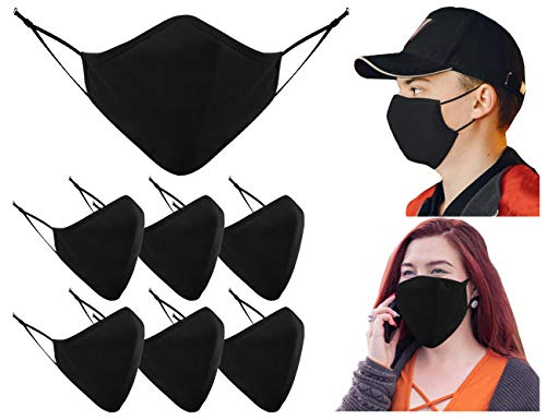 Maschere per il viso Maschera per il viso nera lavabile nel Regno Unito - Copertura protettiva in tessuto a 3 strati regolabile, traspirante riutilizzabile (confezione da 7)