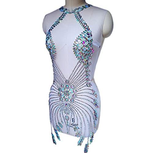 YUNSI Mano Custom Hecho de Coser Beads Boda Piedras Decorativas Cristales Rhinestones Design Parches Appliques for Disfraces De Partido Plata (Color : White Silver)