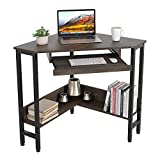HOMECHO Computer Corner Desk, Triangle Desks for Home Office, Small Study Writing Table with Smooth Keyboard Tray & Storage Shelves, Dark Brown