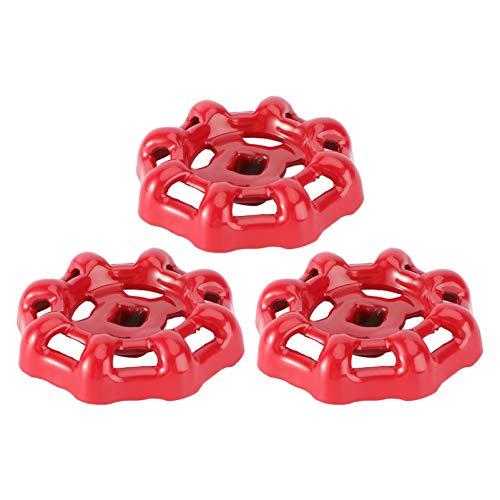 BESTonZON Ventil Handrad Rot Eisen Ventilgriff Kugelhahn Ventil Absperrventil Wasserhahn Wasserrohr Ventil Oberteil Griff 7x7mm 3pcs