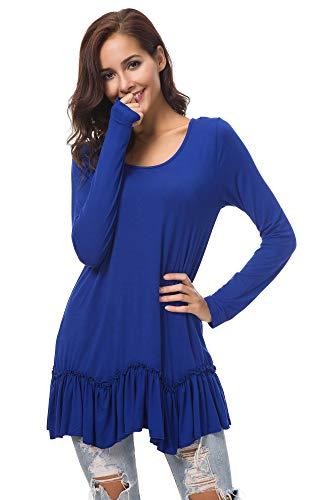 Urban CoCo Women's Casual T-Shirt Solid Long Sleeve Tunic Tops (M, Royal Blue)
