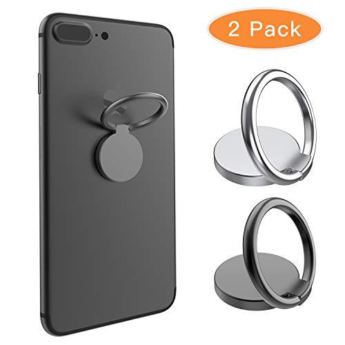 BellFan 2X Handy Halter Finger Ring 360° freidrehbar Kickstand Smartphone Halterung mit Komfortable Metallring Ständer Finger-Halterung Fitness Ringhalter Handys/Tablette(Schwarz&Silber)