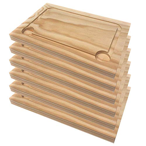 Space Home - Plato de Madera para Churrasco - Set de 6-30 * 20 cm