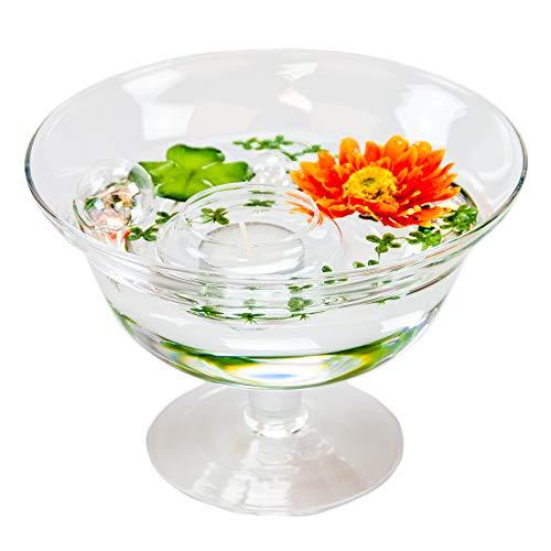 Ronde glazen schaal Roxy 76 hoogte 13 cm ø 18 cm. Vlakke glazen schaal op voet met decoratie Gerbera oranje decoratieve schaal van Glaskönig