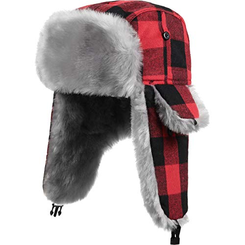 Unisex Trapper Hat Plaid Earflaps Hat with Chin Strap Winter Hunting Hats with Faux Fur Warm Lining Hat for Women Men (Black and Red)