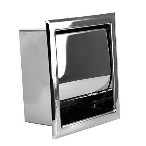 AXUHENGO Caja de Papel en Rollo de Acero Inoxidable ocultable Cromo Pulido Soporte para Papel higiénico montado en la Pared Plata