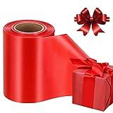 Geschenkband Satinband Rot, Breit Schleifenband Ringelband zum Basteln Geschenk Verpackung, Satin Band Stoffband Dekoband Bögen für Weihnachten Hochzeit Valentinstag Deko (100mm, 22m)