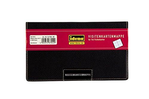 Idena 567042 - Visitenkartenmappe, für Kartengröße bis 85 x 54 mm, Kunstledereinband, schwarz, für 144 Karten (11 x 19 cm)