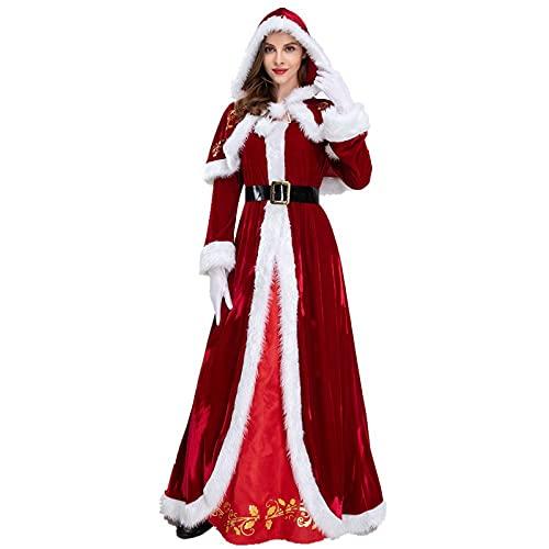 Disfraz de Elfo de Santa para mujer, de lujo, con capucha, para Sra. Claus Santa, rosso, XL