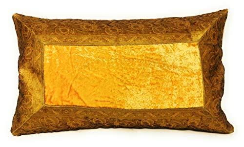 Funda de cojín de estilo hindú de 30 x 50 cm. Funda oriental de la India, dorado amarillo, 30 x 50 cm