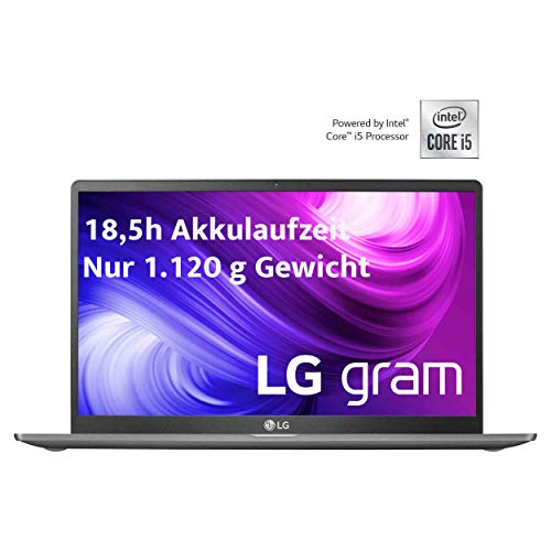 LG gram 15,6 Zoll Ultralight Notebook - 1,12 kg leichter Intel Core i5 Laptop (8GB DDR4 RAM, 512 GB SSD, 18,5 h Akkulaufzeit, Full HD IPS Display, Thunderbolt 3, Windows 10 Home) - Dunkelgrau