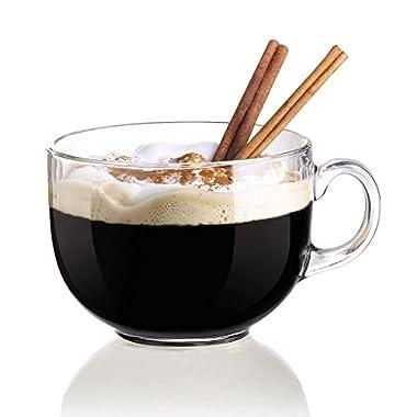 Coffee Mug X LARGE Set of 6-18 oz Jumbo Coffee Mug Cups. Clear Glass, Versatile, Great as Soup Cups, Tea Cup, Hot Chocolate Cups as Soup Mug, Desserts, Ice Cream, after-Dinner Drinks