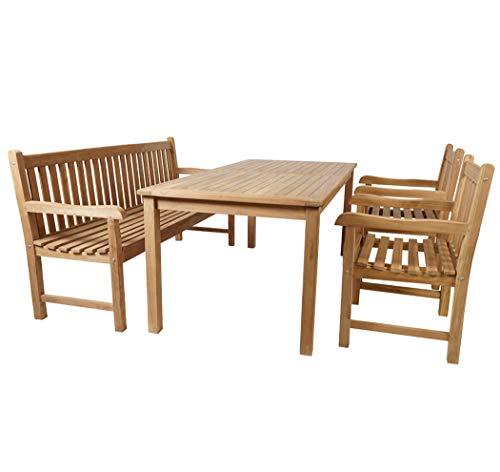 KMH®, Teak Gartensitzgruppe Classic mit 150 cm langem Tisch, Bank und Zwei Sessel bietet Platz für 5 Personen (#102203)