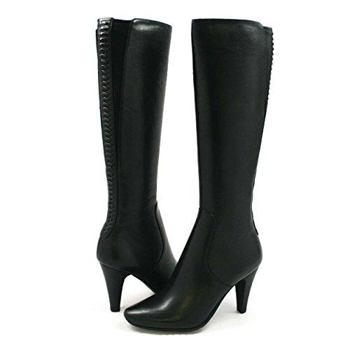 SoleMani Women's Paradise Black Leather Boots Slim Calf 5.5M