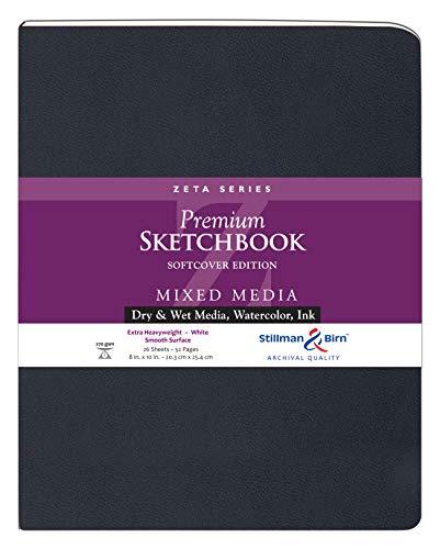 Stillman & Birn Zeta Series Softcover Skizzenbuch, 20,3 x 25,4 cm, 270 g/m² (extra schwer), weißes Papier, glatte Oberfläche