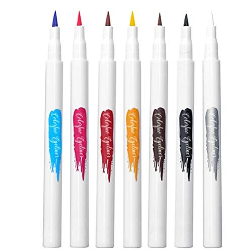 Beaupretty Delineador de Ojos Líquido Delineador de Ojos Colorido Bolígrafos 7 Colores Kits Delineador de Ojos Herramienta de Maquillaje para Mujeres Y Niñas
