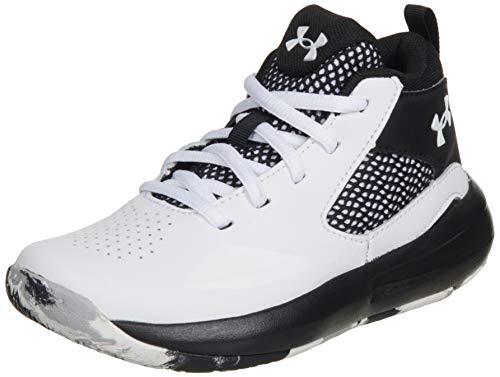 Under Armour unisex child Pre School Lockdown 5 Basketball Shoe, White/Black, 1.5 Little Kid US