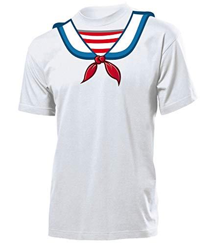 Matrosen 4545 Karneval Kostüm Herren T-Shirt Seemann Männer Motto Party Fasching Faschings Karnevals Paar Gruppen Outfit Klamotten Oberteil Weiss S