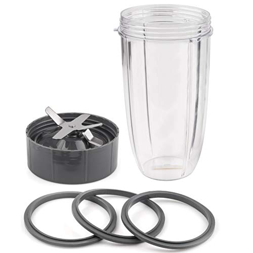 CloudCUP Replacement Parts 32 oz Cup and Blade and Seal Ring Rubber Gaskets Replacement Compatible with Nutribullet New York