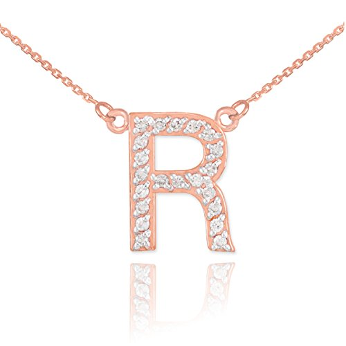 Little Treasures - 14 ct Rose Gold Letter 'R' Diamond Initial Necklace