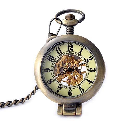 CDPC Taschenuhr, Klassische Bronze-Taschenuhr, Retro-Klapptisch, Geschenke für Männer, mechanische Herrenuhren.