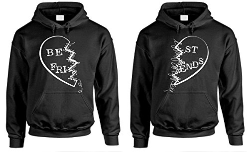 Best Friends Buddies - Couples Two Hoodie Combo, MED Left, MED Right, Black