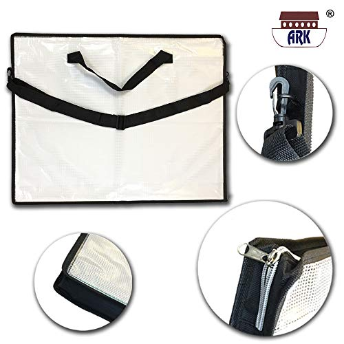 ARK A2 Portfolio-Tragetasche für Kunstmappe, Tuff/Reißverschluss, mit Schultergurt/Griff, PVC, schwarz/transparent