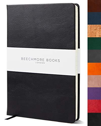 Libreta a Rayas - Cuaderno de Calidad Tamaño A5 de Beechmore Books   Cubierta Rígida en Piel Vegana, Papel Crema en 120 gsm, Libreta Profesional Rayada en Empaque Para Regalo, 21 x 15 cm, Negro