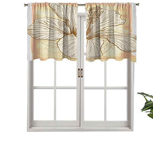 Indoor Privacy Window Valance Curtain Panel Large Hibiscus Flower Petals Blooms in Soft Pastel Tones Wild, Set of 2, 54'x36' for Sliding Patio Door/Dining