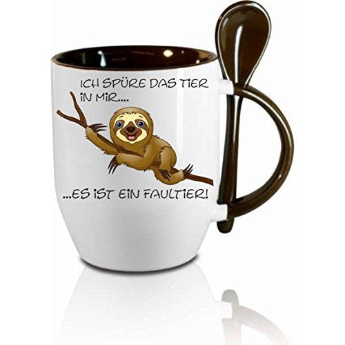 Creativ Deluxe Tasse m. Löffel Ich spüre das Tier in Mir - es ist EIN Faultier Löffeltasse, Kaffeetasse mit Motiv,Bürotasse, Bedruckte Tasse mit Sprüchen oder Bildern -