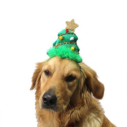 Animales de Navidad Disfraces Sombrero Tocado perro árbol de navidad verde con banda de sujeción for mascotas Perros Gatos ajustable del sombrero de Cosplay del partido del regalo de la Suministros de