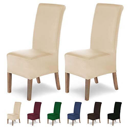 SCHEFFLER-Home Stretch Stuhlhusse Lena, 2er Set elastische Stuhlabdeckungen, Stuhlhussen Schwingstühle, Spannbezug mit Gummiband, Elegante...