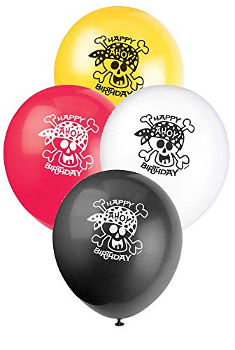 Unique Party - 40505 - Paquet de 8 Ballons d'Anniversaire - Fête de Pirates en Latex - de 30 cm