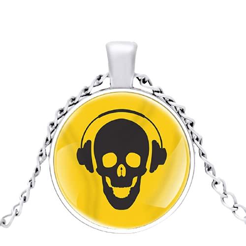 Moda Teschio Indossare Cuffie Per Ascoltare La Musica di Vetro Cupola Ciondolo Collana Uomo Donna Gioielli Accessori Regali