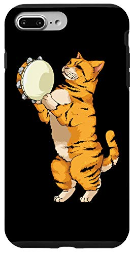 iPhone 7 Plus/8 Plus Funny Cat Playing Tambourine Gift | Cute Kitten Musician Fan Case