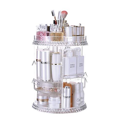 JAY-LONG Organisateur De Maquillage en Cristal/Boîtes De Rangement De Cosmétiques Réglables Rotatives À 360 Degrés, Présentoir De Parfums De Bijoux De Grande Capacité