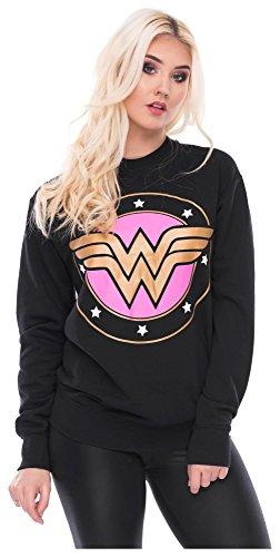 Loomiloo Sweater Wonderwoman Pulli Damen Wonder Woman Pullover Superwoman Sweatshirt Superhelden Comics Halloween Kostüm Karnevalskostüme Karneval Fasching L