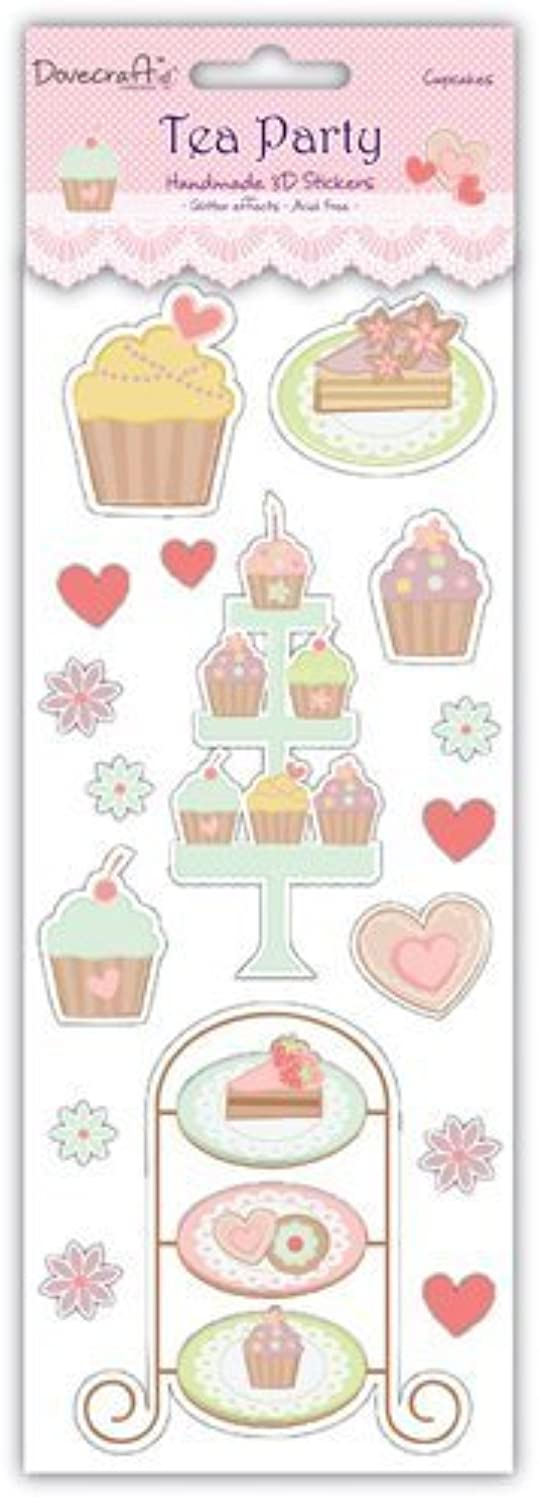Tea Party 3d Stickers - Cupcakes, with Jewels by Tea Party
