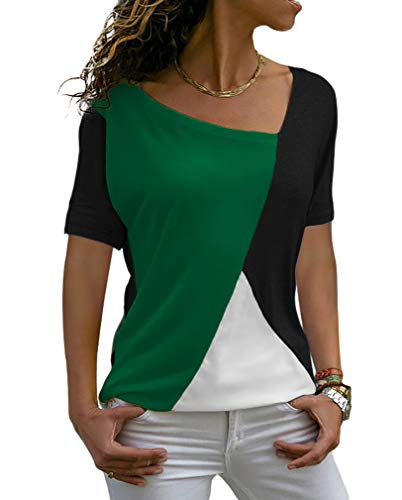 Sarin Mathews Womens Shirts Casual Tee Shirts Short Sleeve Patchwork Color Block Loose Fits Tunic Tops Blouses InkGreen+Black M