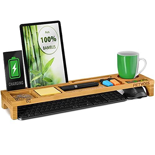 PIETVOSS Schreibtisch Tastatur Organizer aus Bambus Holz, Aufsatz Regal für optimale Organisation. iPhone Halter, Fächer Ablage für Stifte, Büro Zubehör, Gadgets, Maus gegen Unordnung