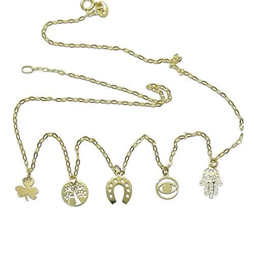 Never Say Never Collar de la Suerte de Oro de 18k 5 símbolos, árbol de la Vida, trebol, Herradura, Ojo Que Todo lo ve y Mano de Fátima. 40cm de Largo. 1.45gr de Oro de 18k