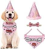 VIPITH Dog Birthday Bandana, bufanda triangular de algodón para perros con sombrero de fiesta de cumpleaños para perros, gran disfraz de cumpleaños, regalo y decoración de fiesta (rosa)