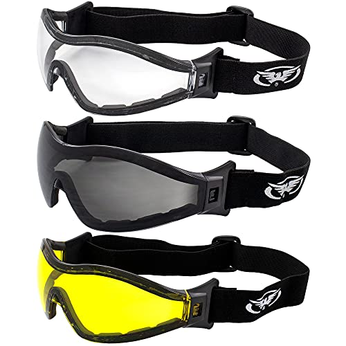 Global Vision Z-33 Padded Motorcycle Riding Skydiving Goggles (Clear Smoke & Yellow)