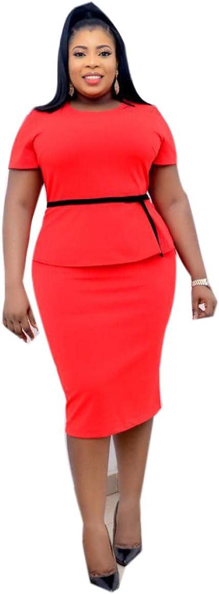 Womens Round Neck Office Dress Bracelet Sleeve Wear to Work Business Church Sheath Bodycon Dress-RED_L.
