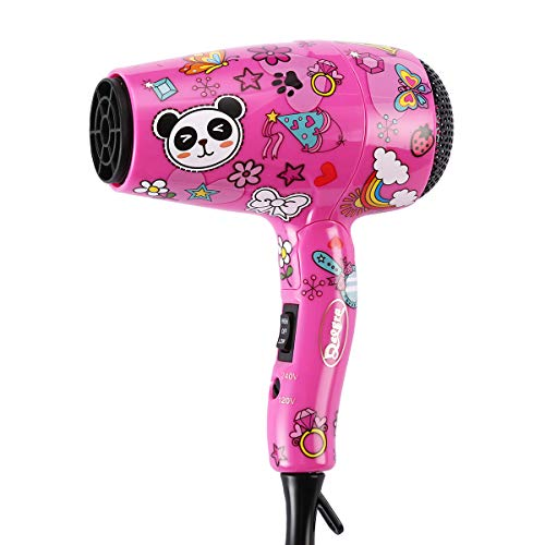 Deogra Travel Hair Dryer for Kids - Portable Mini Hair Dryer Dual Voltage for International Use - Foldable Compact Blow Dryer with Diffuser and Concentrator Pink
