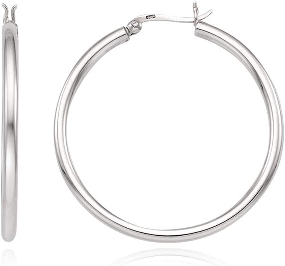 J.RAHEL 925 Sterling Popular standard Silver Classic Click Round Popular product Earring Top Hoop