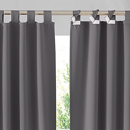 RYB HOME Outdoor Curtain 100 inch Wide - Detachable Top Heavy Duty Waterproof Windproof Privacy Curtains Insulated for Cabana Patio Door Lanai Terrace Garden Lawn, W 100 x L 95, 1 Panel, Gray