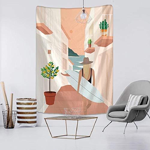 Tapiz INS Surfing Girl Tapiz de pared Personalidad Señora Tela Tela colgante para la decoración del hogar Sala de estar Cortina Tapiz bohemio150x100cm